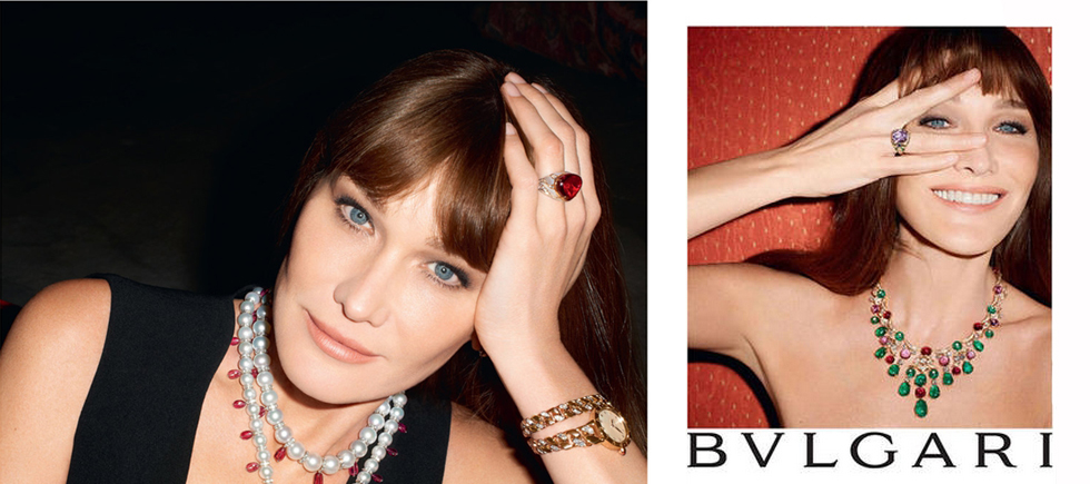 « C'est la première fois que Carla Bruni prête son image à une marque de haute joaillerie. Cette campagne de Bulgari est une campagne sur-mesure, tout en clair-obscur et lumière intimiste, dans laquelle Carla Bruni était radieuse »
