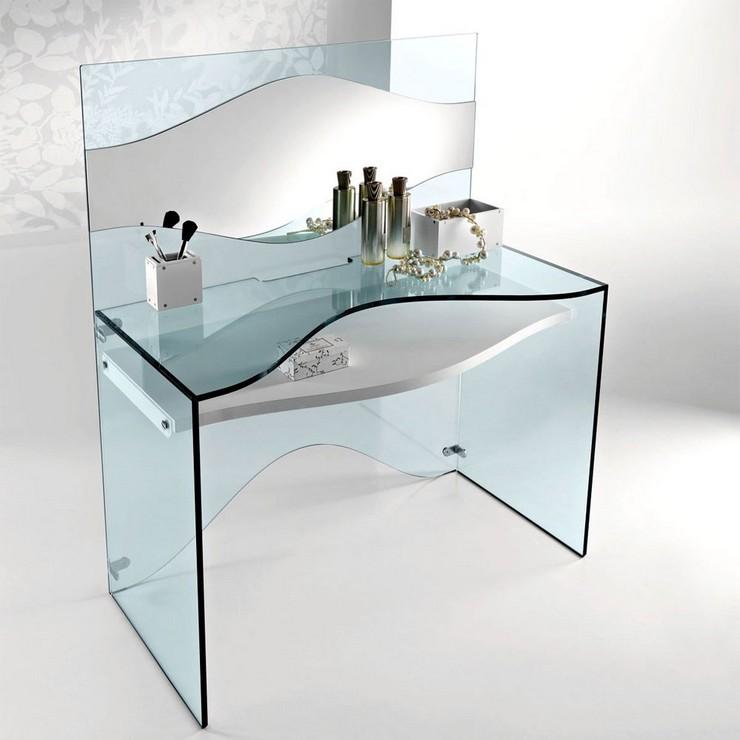 maquillage chambre Des coiffeuses de luxe pour votre chambre strata Glass Dressing Table Tonelli