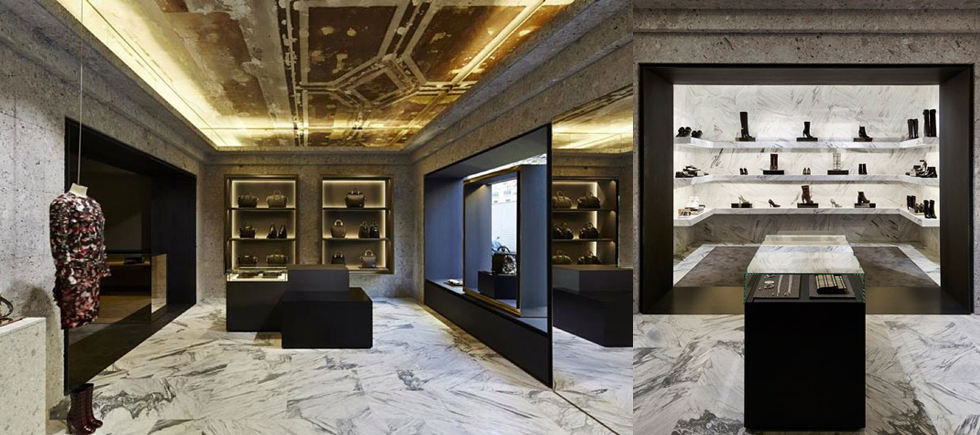 « Élu créateur de l'année par Maison & Objet, auteur du nouveau restaurant à succès du Palais de Tokyo Monsieur Bleu, Joseph Dirand imagine pour Givenchy un espace dont la rigueur des lignes est nuancée par le luxe affriolant des matières. »