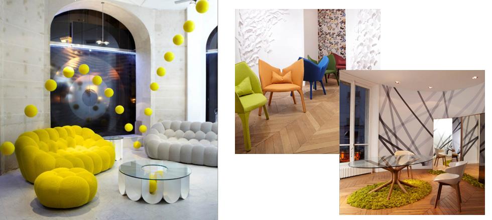 La nouvelle collection de Roche Bobois, automne-hiver 2014, couleurs, jaune et brun, tendance graphique, esprit arty, art plastique, luminaires modulables, Architecture & Design, Magasins Deco