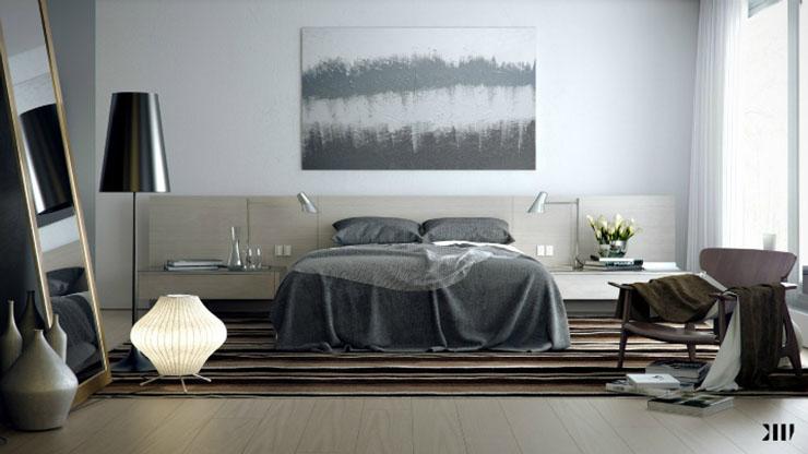 Une chambre contemporaine parfaite en tons de gris Une chambre contemporaine parfaite en tons de gris Appealing Grey brown white bedroom luxury modern