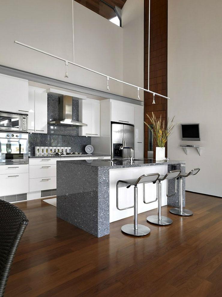 Une chambre contemporaine parfaite en tons de gris Une chambre contemporaine parfaite en tons de gris special design silver bar stools grey white black kitchen table2