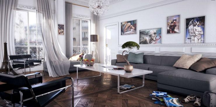 Une chambre contemporaine parfaite en tons de gris Une chambre contemporaine parfaite en tons de gris white modern living room gray chaise lounge sofa luxury