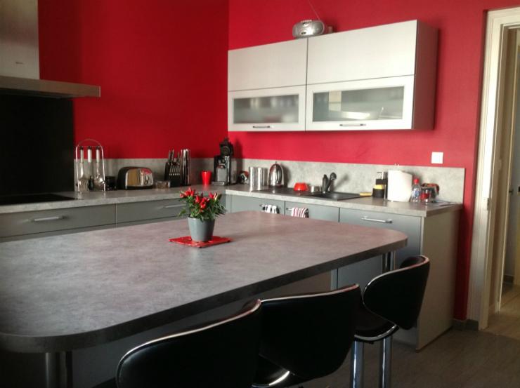 Les 5 couleurs tendances pour votre cuisine - Mur cuisine rouge ...