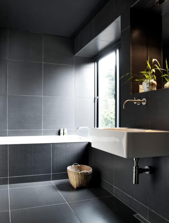 salle de bains noires salle de bains 7 idées de design de salle de bains noires de luxe azulejos grandes color gris1
