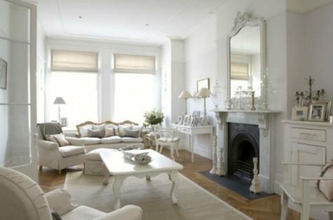 Couleur Blanche blanche L'indémodable couleur blanche salon blanc chemin  e miroir ancien d  coration shabby 475x315