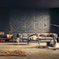 style industriel 12 IDÉES POUR UN DESIGN D'INTÉRIEUR STYLE INDUSTRIEL salon style industriel design parement brique noire plancher tapis 120x120