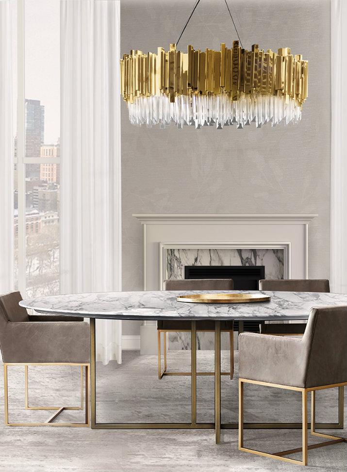 éclairage salle à manger éclairage Idées d'éclairage pour une salle à manger digne d'un intérieur de luxe Dining Room lighting ideas LUXXU Empire Suspension
