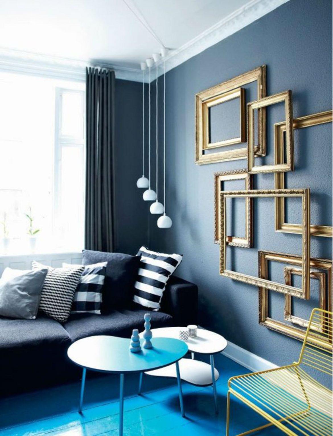 salon bleu marine et blanc noir releve de bleu et d or du - Salon Bleu Marine Et Blanc