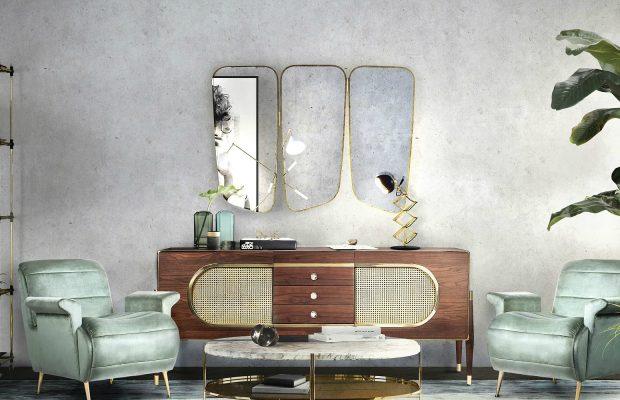 Conseils De Décoration: 10 Miroirs Incroyables Pour Votre Maison Midcentury modern living room decor from Essential Home 1 620x400