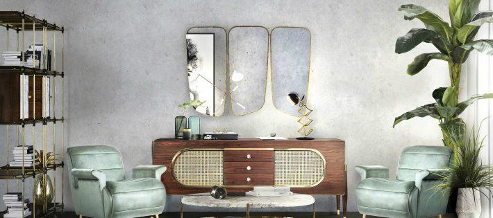 Conseils De Décoration: 10 Miroirs Incroyables Pour Votre Maison Midcentury modern living room decor from Essential Home 1 710x315