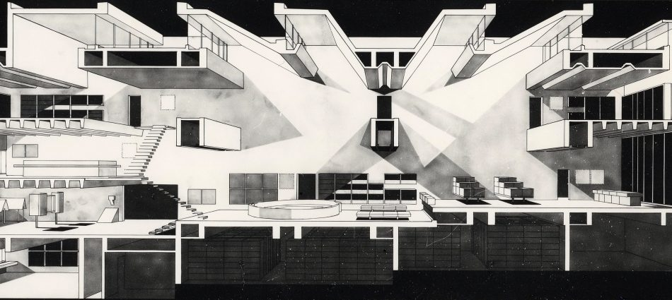 Arata Isozaki – Prix Pritzker 2019 11 Section perspective1 Oita Prefectural Library 1966 950x425